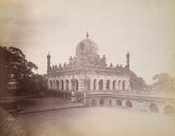 View from the south-east of the tomb at the Ibrahim Rauza, Bijapur.
